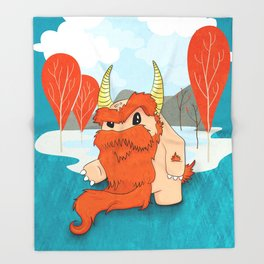 Graggy, the plump Happy Chaos Monster of Scotland Throw Blanket