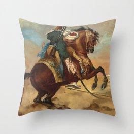 """Théodore Géricault """"Turc monté sur un cheval alezan brûlé"""" Throw Pillow"""