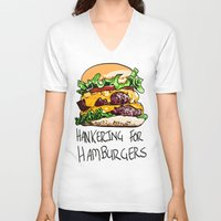 hamburger V-neck T-shirts featuring Hamburger by Let's Make Food Babies