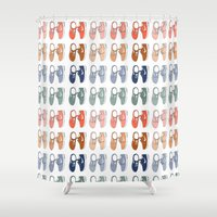 nike Shower Curtains featuring Colored Nike sneakers illustration by Rocio P. Vigne