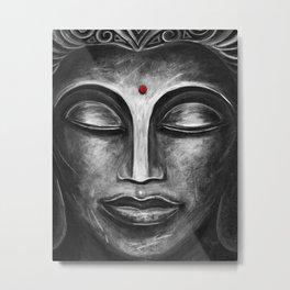 Feminine Buddha Face Art Print Metal Print