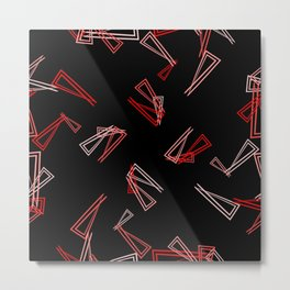 Patterns from flowing red lines and triangles in multi colored tones for fabric or decorations Metal Print