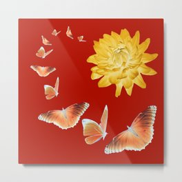 YELLOWISH BROWN DAHLIA FLOWER &  ORANGE BUTTERFLIES ALLURE Metal Print