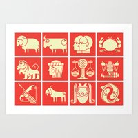 zodiac Art Prints featuring Zodiac by KOMBOH