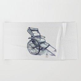 rickshaw japan Beach Towel