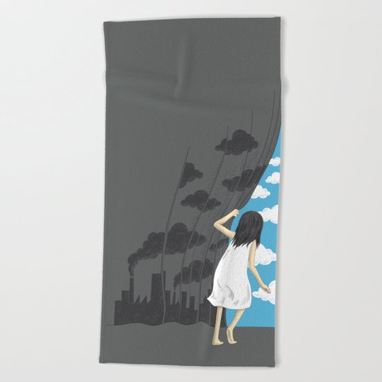 Hey Mr. Blue Sky Beach Towel