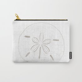 Sand Dollar Dreams - Brown on White Carry-All Pouch