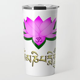 Lotus flower, om symbol and mantra 'om mani padme hum' Travel Mug