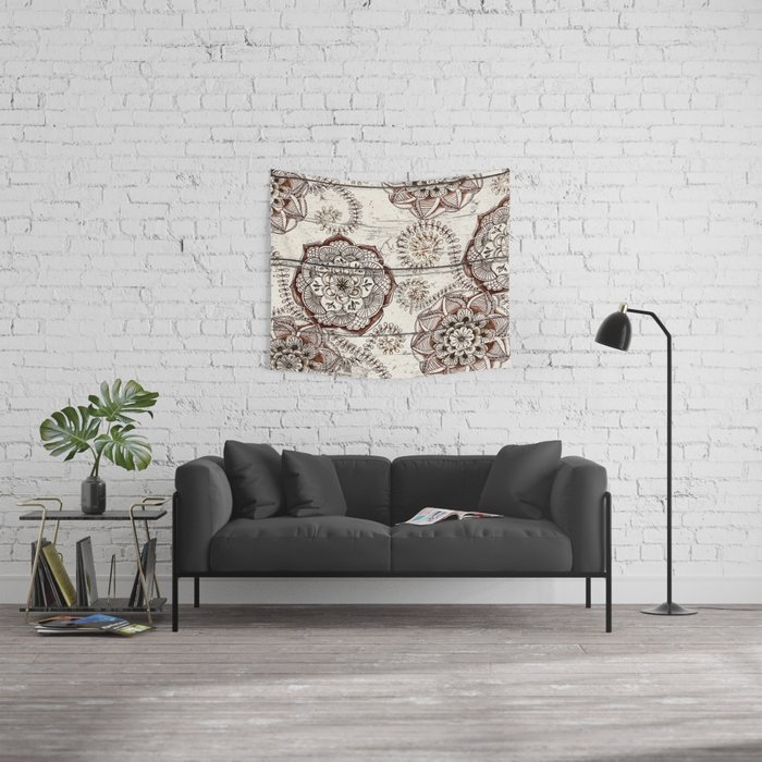 Coffee & Cocoa - brown & cream floral doodles on wood Wall Tapestry