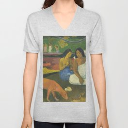 Arearea by Paul Gauguin Unisex V-Neck