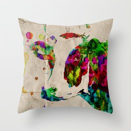 Watercolor  Rainbow Cow Color Painting Poster Print by Robert Erod Throw Pillow