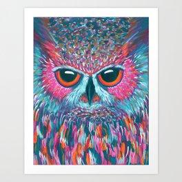 color pop owl Art Print