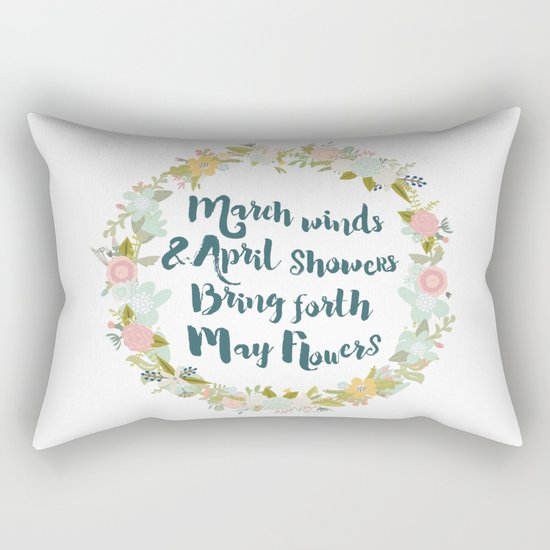 May Flowers brush script Rectangular Pillow
