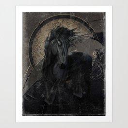 Gothic Friesian Horse Art Print