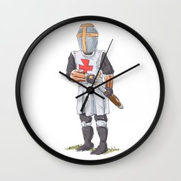 Knight Templar in armour with sword. Wall Clock
