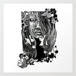 Black and White Flower Girl Line Cut Art Print