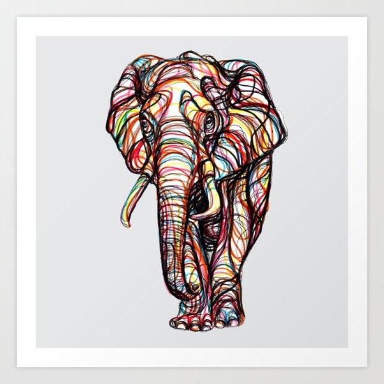 elephant line style - elefante - éléphant Art Print