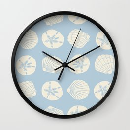 Sea Shells Gray Blue Wall Clock