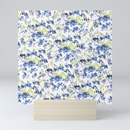 Doodle blue flowers pattern, transparent background Mini Art Print