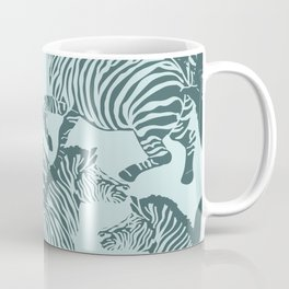 Zebra Stampede in Mint + Pine Coffee Mug
