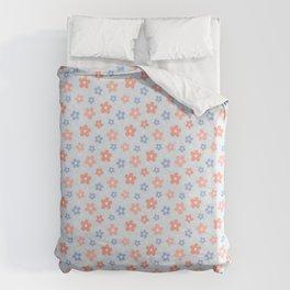 Blue Pink Flower Pattern Duvet Cover