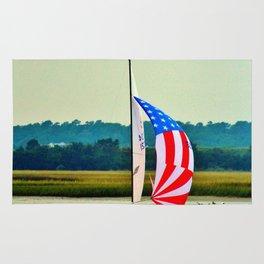 US Flag Sailboat Rug