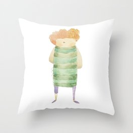 Bird Girl Character in Stripes and Plaid Throw Pillow
