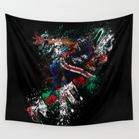 football Wall Tapestries featuring Football Player by ron ashkenazi