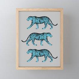 Tigers (Gray and Blue) Framed Mini Art Print