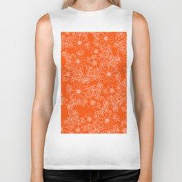 Hand drawn white bright orange modern floral Biker Tank
