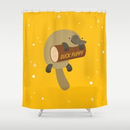 """Duck puppy"" platypus with a log (yellow) Shower Curtain"