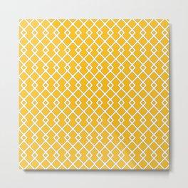 Amber Yellow Diamond Pattern Metal Print