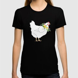 Spring Chicken Floral Illustrated Print T-shirt