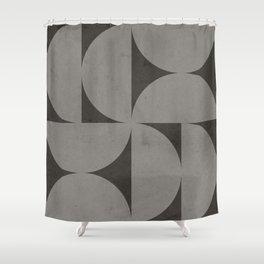 Scandinavian Contemporary Geometry - Square and Half Circles - Dark Grey Shower Curtain