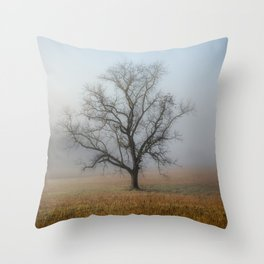 In a Fog - Single Tree on Foggy Morning in the Great Smoky Mountains Throw Pillow