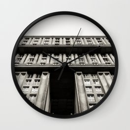 Facade of a monumental residential building I Wall Clock