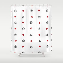 Doodle black paw print with red hearts seamless fabric design repeated pattern Shower Curtain