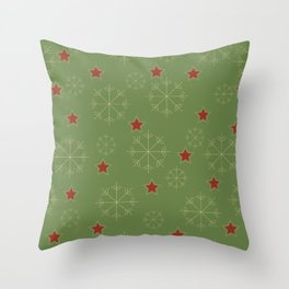 Snowflakes and stars - green and red Throw Pillow