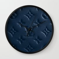lv Wall Clocks featuring Blue LV by I Love Decor