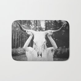 Bull Skull Tribal Woman Vintage Bath Mat