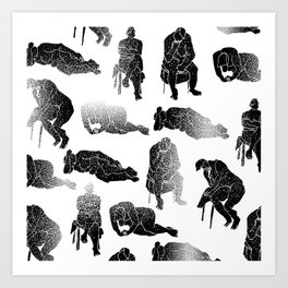 b&w fading figures Art Print