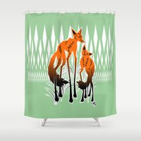foxes Shower Curtains featuring Foxes by AmKiLi