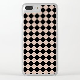 Brown black plaid Clear iPhone Case