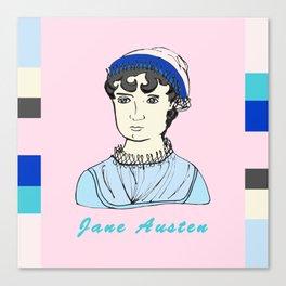 Jane Austen - hand-drawn portrait Canvas Print
