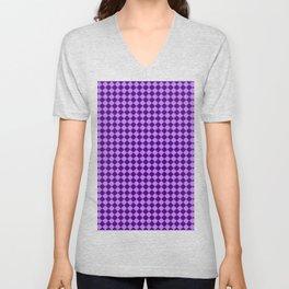 Lavender Violet and Indigo Violet Checkerboard Unisex V-Neck