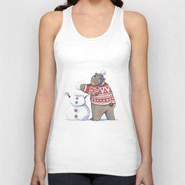 Bear with snowman Unisex Tank Top