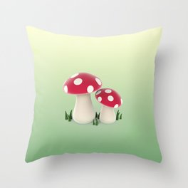 red mushrooms Throw Pillow