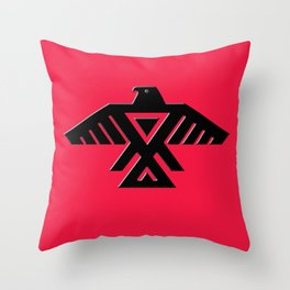 Animikii Thunderbird doodem on red Throw Pillow
