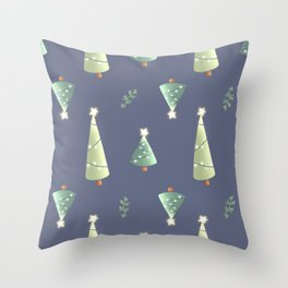 lighted Christmas tree pattern Throw Pillow