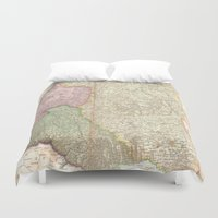 poland Duvet Covers featuring Vintage Map of Poland (1818) by BravuraMedia
